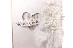 Kartka na ślub w bieli #506
