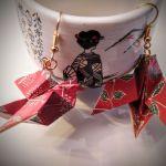 Kolczyki origami ptaszki czerwone - Z boku i od gory