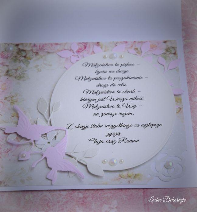 Kartka  w pudełku Pudrowy Róż - Życzenia ślubne