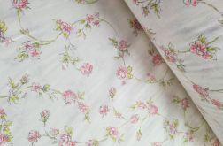 Tkanina bawełna - kwiatki na bieli