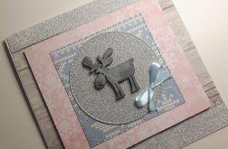 Kartka Boże Narodzenie handmade łoś pastelowa