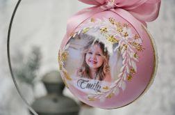 Bombka ze zdjęciem - różowa dla dziewczynki