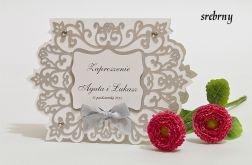 Zaproszenie na ślub z ornamentem kolor srebrny