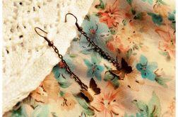 Kolczyki długie antyczne motylki na łańcuszku