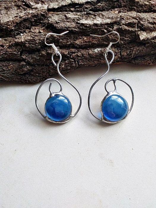 Kolczyki Zawijas Tiffany niebieski - zawieszone na biglu otwartym