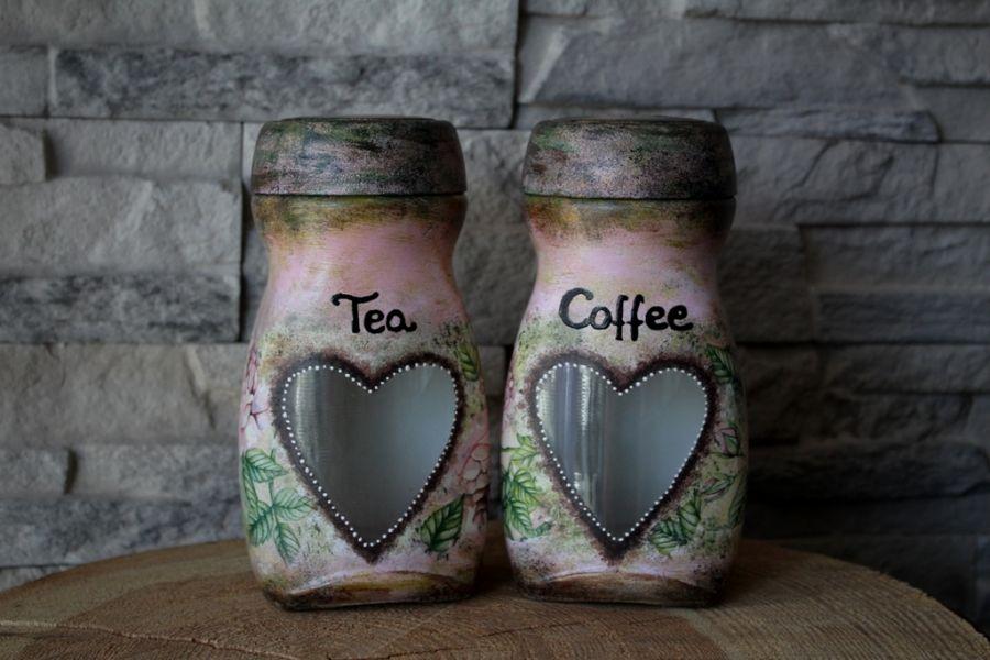 Słoiki na kawę i herbatę - róże vintage