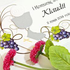 Zaproszenia na Pierwszą Komunię -winorośl