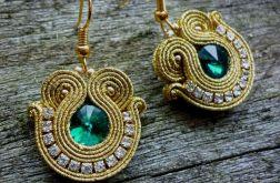 Kolczyki sutasz Shine gold and emerald