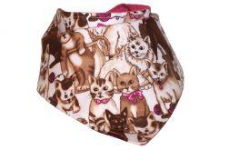 Apaszka, bandama, chustka Brązowe Kotki + Różowe Minky + Bawełna różowa w kropki