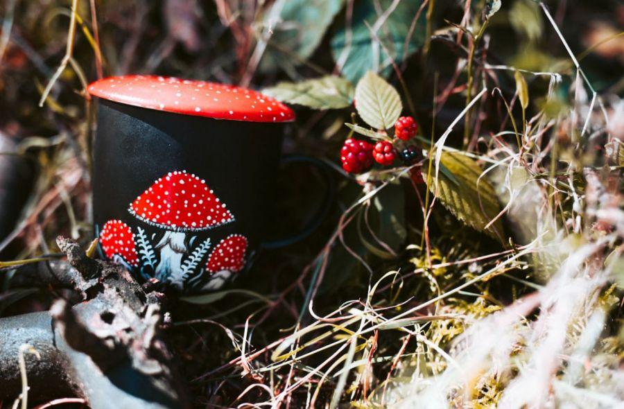 Kubek muchomor z przykrywką i zaparzaczem - Kubek muchomor