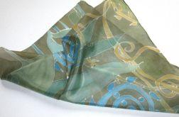 Jedwabna apaszka w zieleni ręcznie malowana