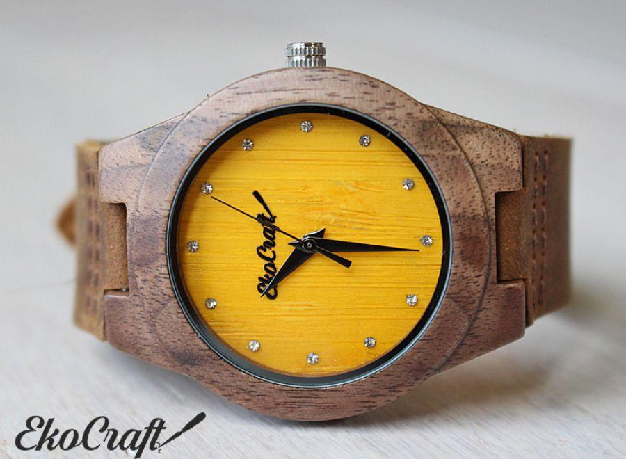 Drewniany damski zegarek CANARY DIAMOND
