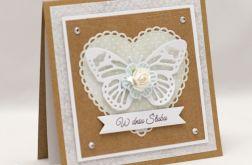 Ażurowy motyl - kartka ślubna KS1918