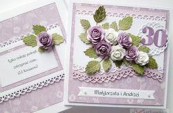 Kartka ROCZNICA ŚLUBU fioletowo-biała