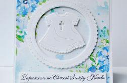 Kwiatowe zaproszenie na Chrzest dla chłopca