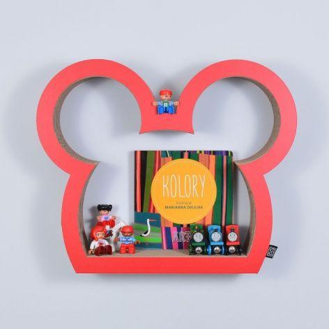 Półka na książki MYSZKA | czerwony