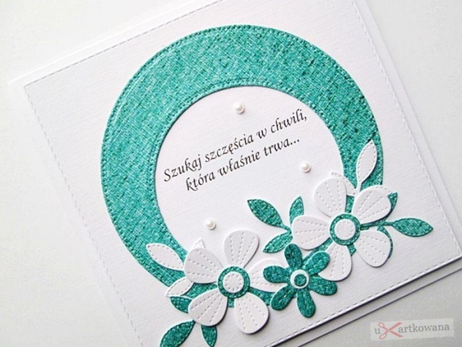 Kartka URODZINOWA biało-turkusowe kwiaty