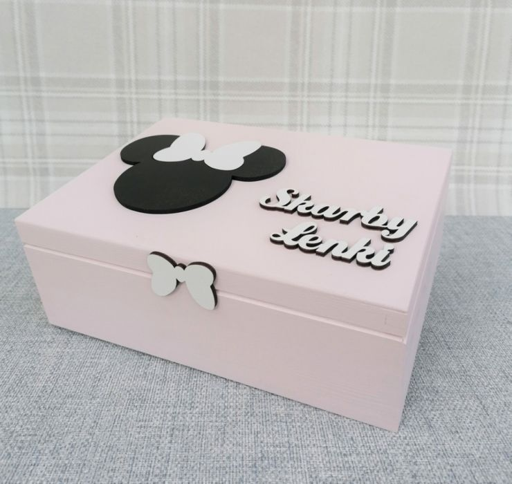 Pudełko bez przegródek- Myszka Minnie - Mm07 - kuferek dla dziewczynki na pamiątki