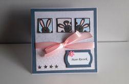Kartka na Roczek ręcznie robiona króliczki
