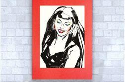 pop art plakat z dziewczyną na czerwonym tle