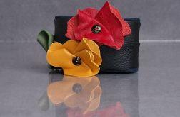 Skórzana bransoletka 3 Kwiaty