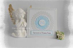 Zaproszenia IHS,biel i srebro z niebieskim