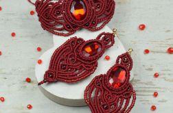 Bordowy komplet biżuterii - makrama