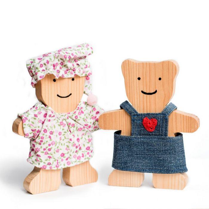 Miś drewniany w piżamce - miśki
