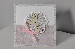 Kartka na chrzest gołąbek róż koronka