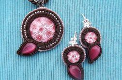 Różowo- Brązowe Kwiaty- komplet Sutasz