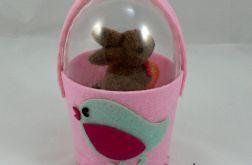 Jajko w filcowym koszyku (róż)
