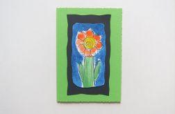 Kartka zielona z kwiatkiem 22