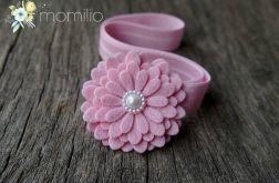 Opaska do włosów kwiatek z perełką róż
