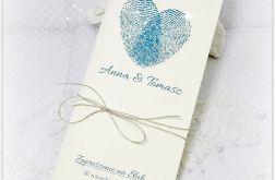 Zaproszenie ślub - serduszko linie papilarne