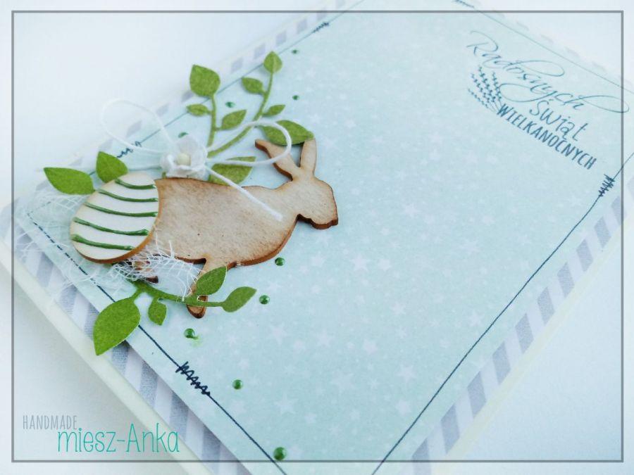 Kartka wielkanocna z zajączkiem i pisanką