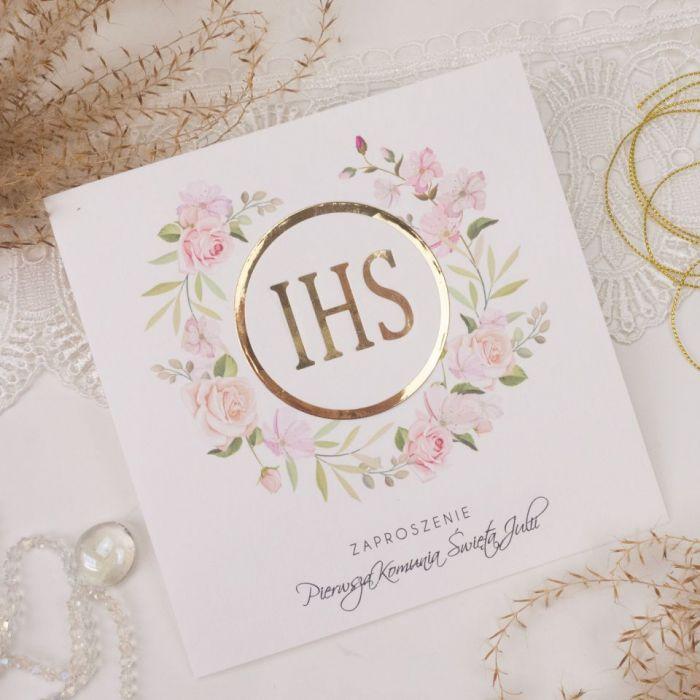 Zaproszenia na komunię, chrzest - kwiaty2 - pierwsza komunia, zaproszenia dla dzieci, eleganckie zaproszenia