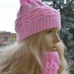Komplet czapka na głowę, komin i mitenki