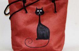 Zamszowa torba z kotem xxl