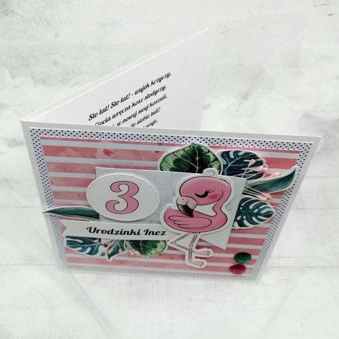 kartka flaming liście monstera UDP 030 - kartka urodzinowa flaming różowa liście monstera (2)