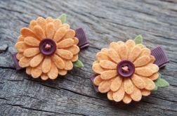 Spinki do włosów kwiatki DAISY CANTALOUPE