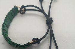 Oryginalna bransoletka z malachitu i rzemyka