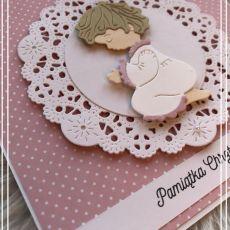 Kartka na Chrzest Święty kropeczki różowa