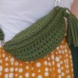 Torebka tylu nerka ręcznie zrobiona ze sznurka