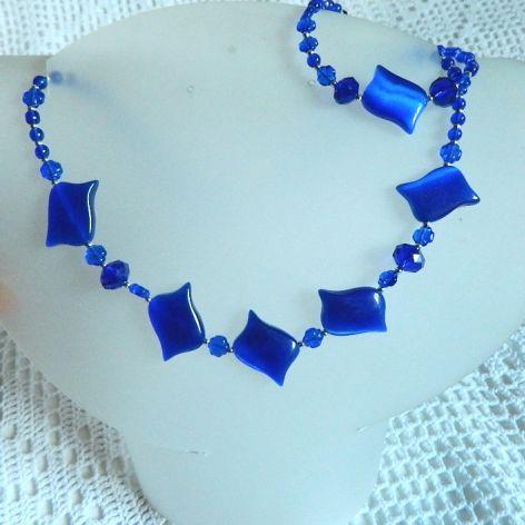 Kocie - oko kamień piękna, kobaltowy zestaw