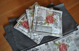 4 podkładki pod kubki - romantyczne róże