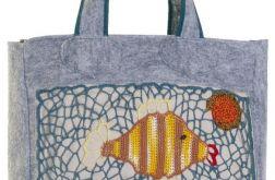SwS TOREBKI Szara torebka shopper rybki