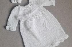 Biała sukienka z opaską bawełniana