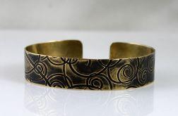 Mosiężna bransoleta - zawijasy - cienka III