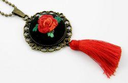 Naszyjnik haftowany kwiat i chwost