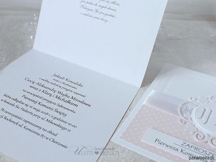 Zaproszenie na Pierwszą Komunię róż kropeczki - Zaproszenie na Pierwszą Komunię róż kropeczki